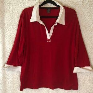 Venezia Red white plus size top shirt 22/24